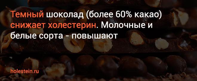 Темный шоколад снижает холестерин