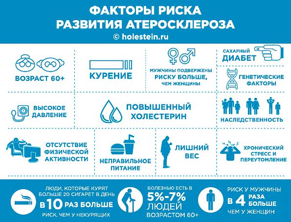 Инфографика: факторы риска развития атеросклероза