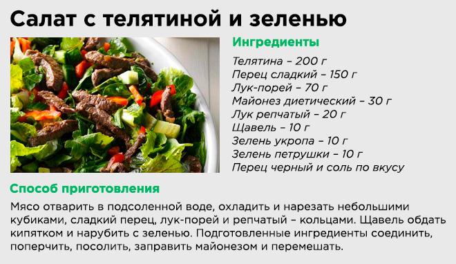 Салат с телятиной и зеленью