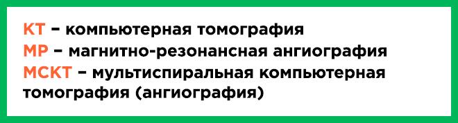 Расшифровка КТ МРТ и МСКТ ангиографии