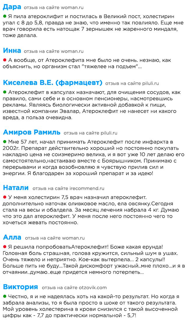 Подборка отзывов о Атероклефит