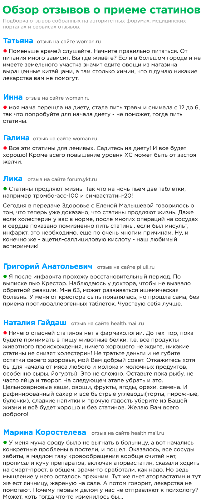 Отзывы о приеме статинов